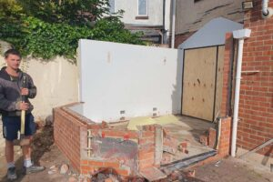 Knocked down walls for new extension in back garden