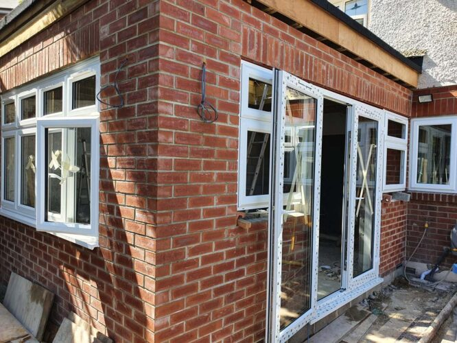 new brick extension and new PVC doors and windows